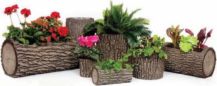 Декоративные горшки для цветов из дерева