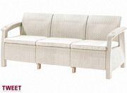 Трехместный диван для улицы белый TWEET